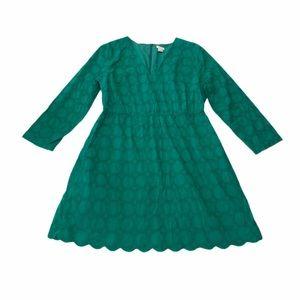 J. Crew green eyelet lace dress plus size 16